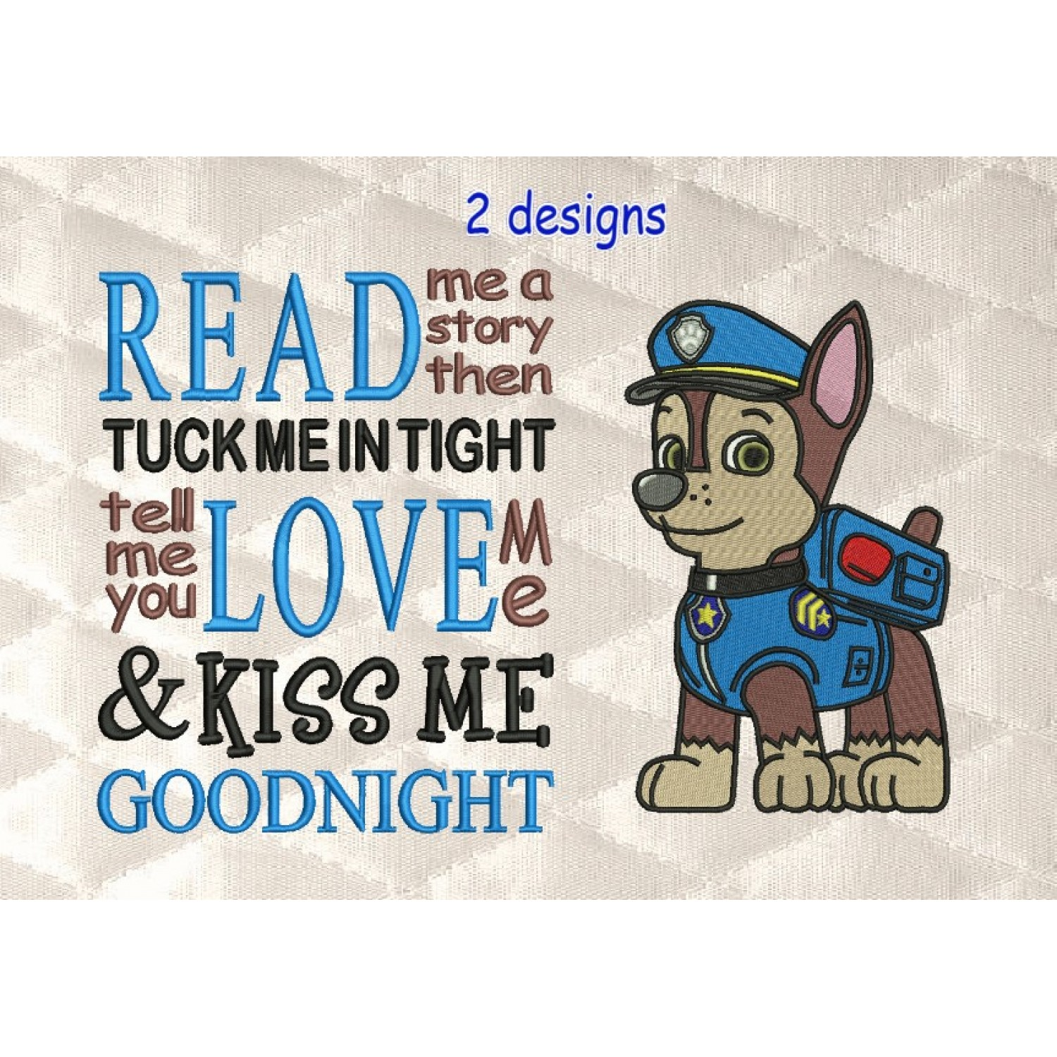 Paw Patrol Chase embroidery with read me a story reading pillow