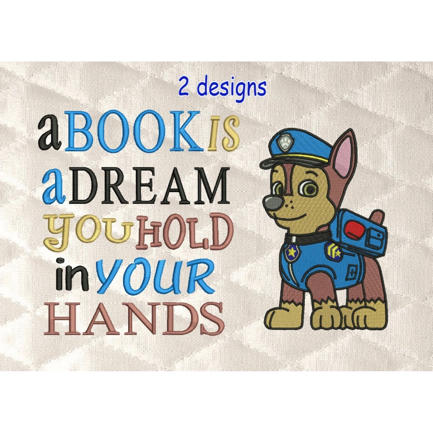 Paw Patrol Chase embroidery with a book is a dream