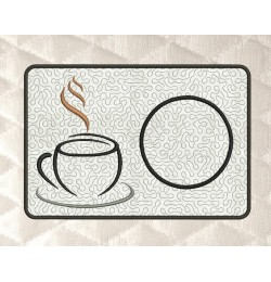 coffee mug rug stippling in the hoop embroidery