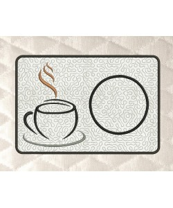 coffee mug rug stippling in the hoop embroidery