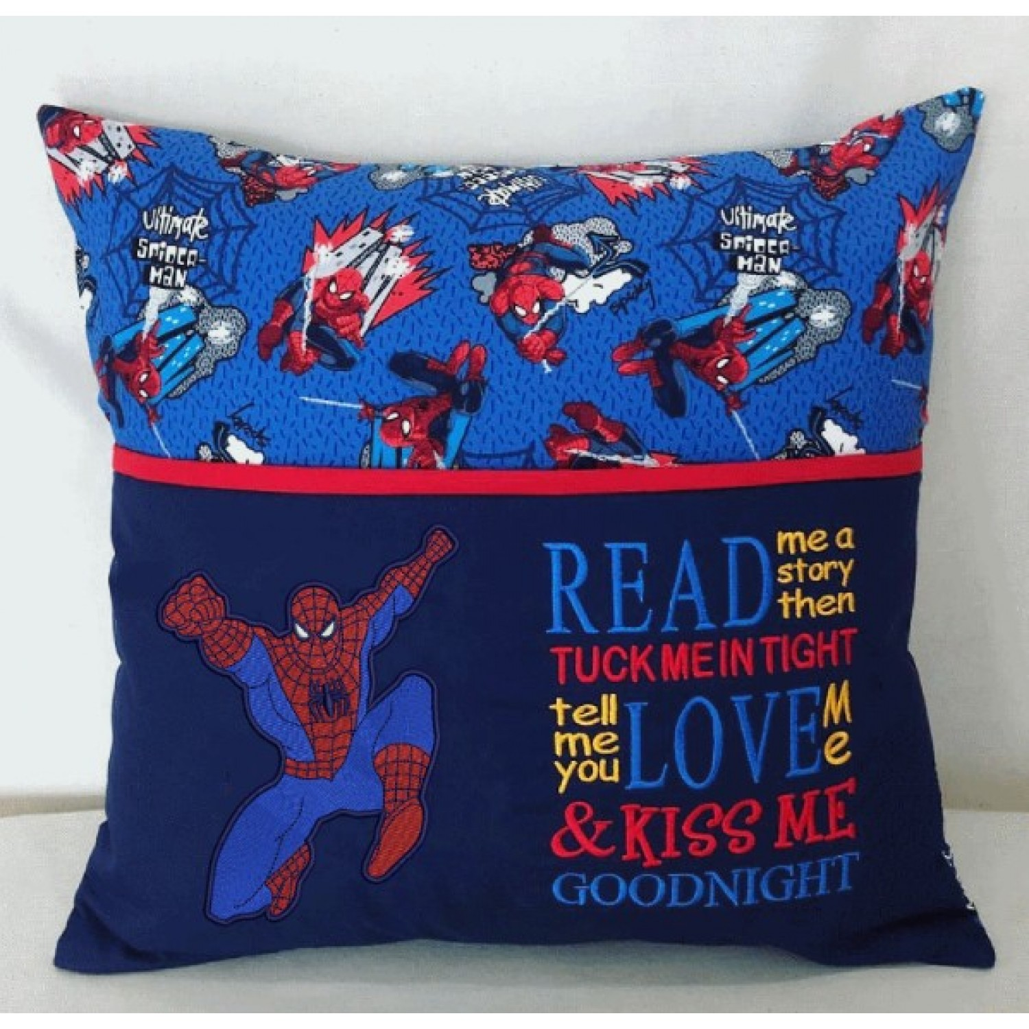 spiderman embroidery with read me a story