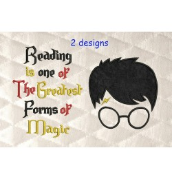 Harry Potter Face Applique with Reading is one 2 designs 3 sizes