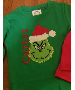 grinch face applique