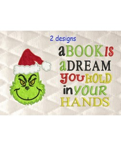Grinch face with a book is a dream