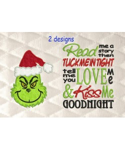 Grinch face with read me a story designs