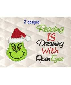 Grinch face with reading is dreaming