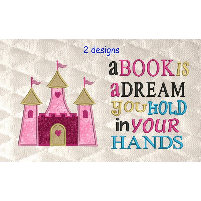 castle princess applique with a book is a dream 2 designs 3 sizes