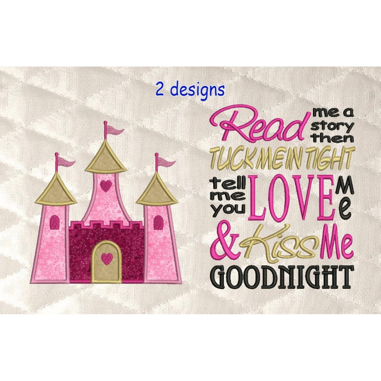 castle princess applique with read me 2 designs 3 sizes