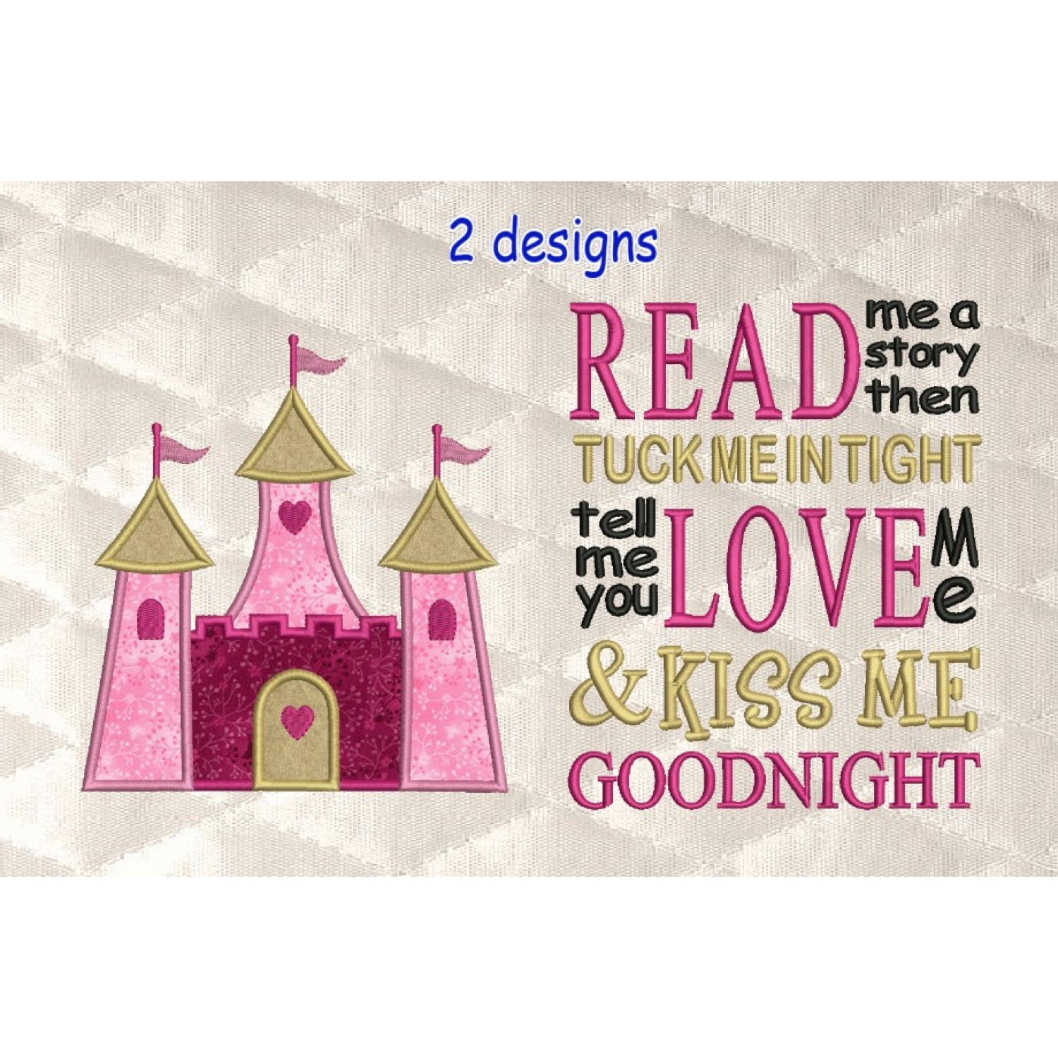 castle princess applique with read me a story 2 designs 3 sizes