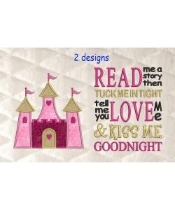 castle princess applique with read me a story 2 designs 3 sizes