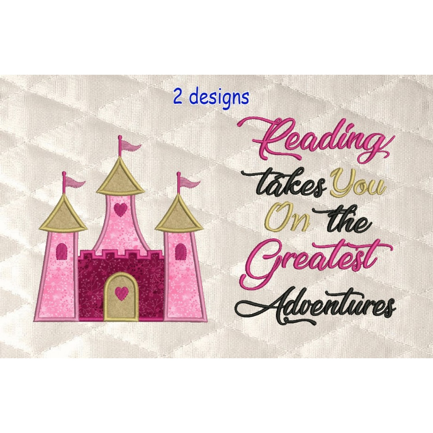 castle princess applique with reading takes you 2 designs 3 sizes