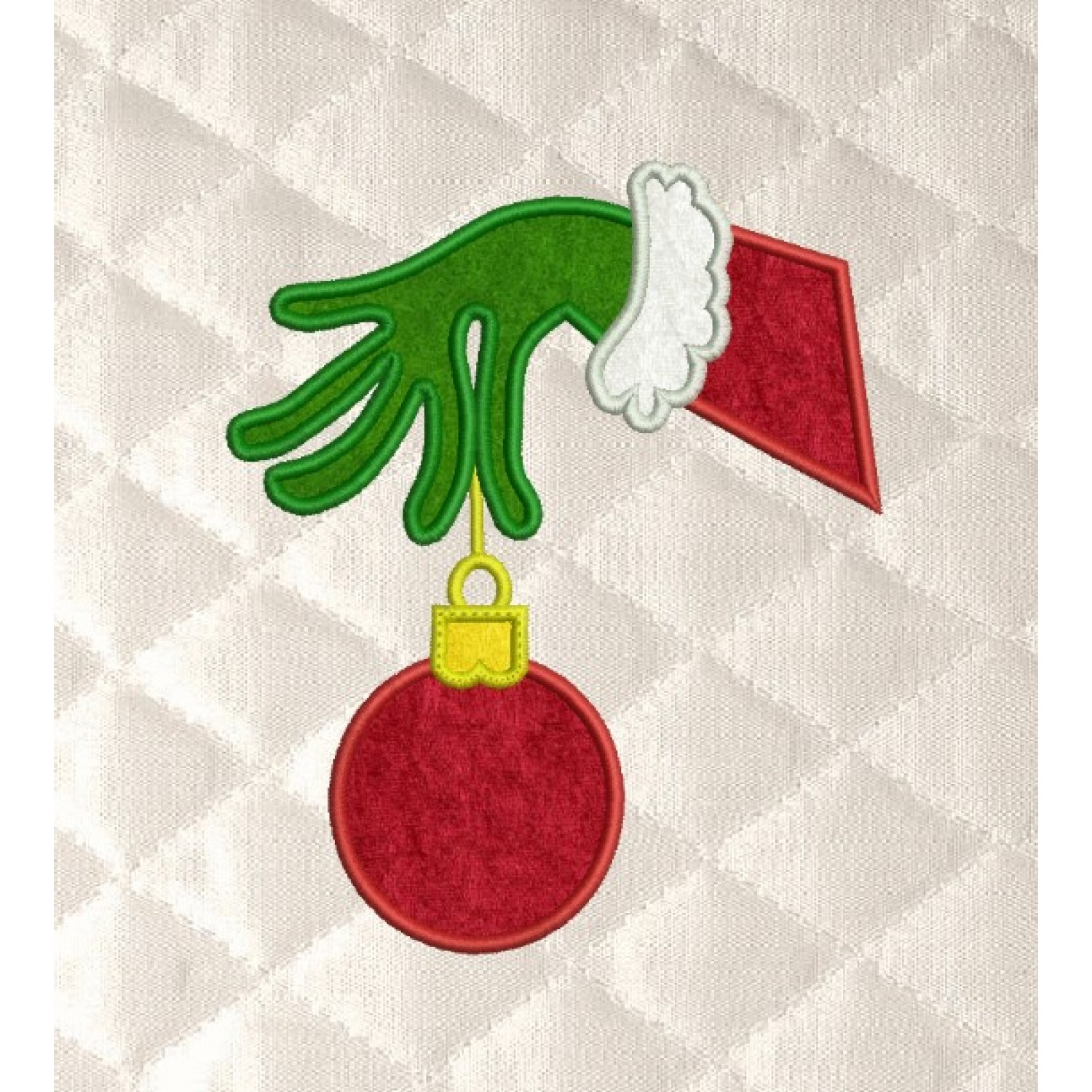 grinch Hand ornament embroidery