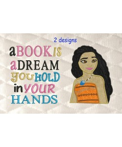 Moana Applique with a book is a dream