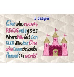 castle princess applique with One who never reads 2 designs 3 sizes