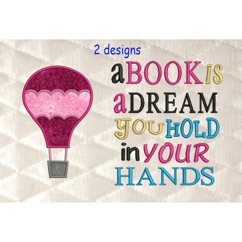 Air Balloon applique with a book is a dream