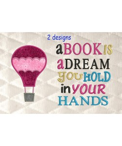 Air Balloon applique with a book is a dream