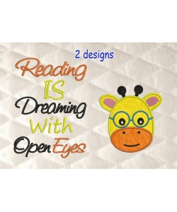 baby giraffe face with reading is dreaming