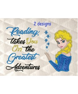 Elsa Frozen applique with reading takes you