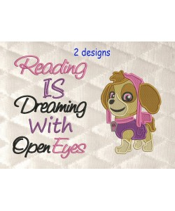 skye paw patrol with reading is dreaming