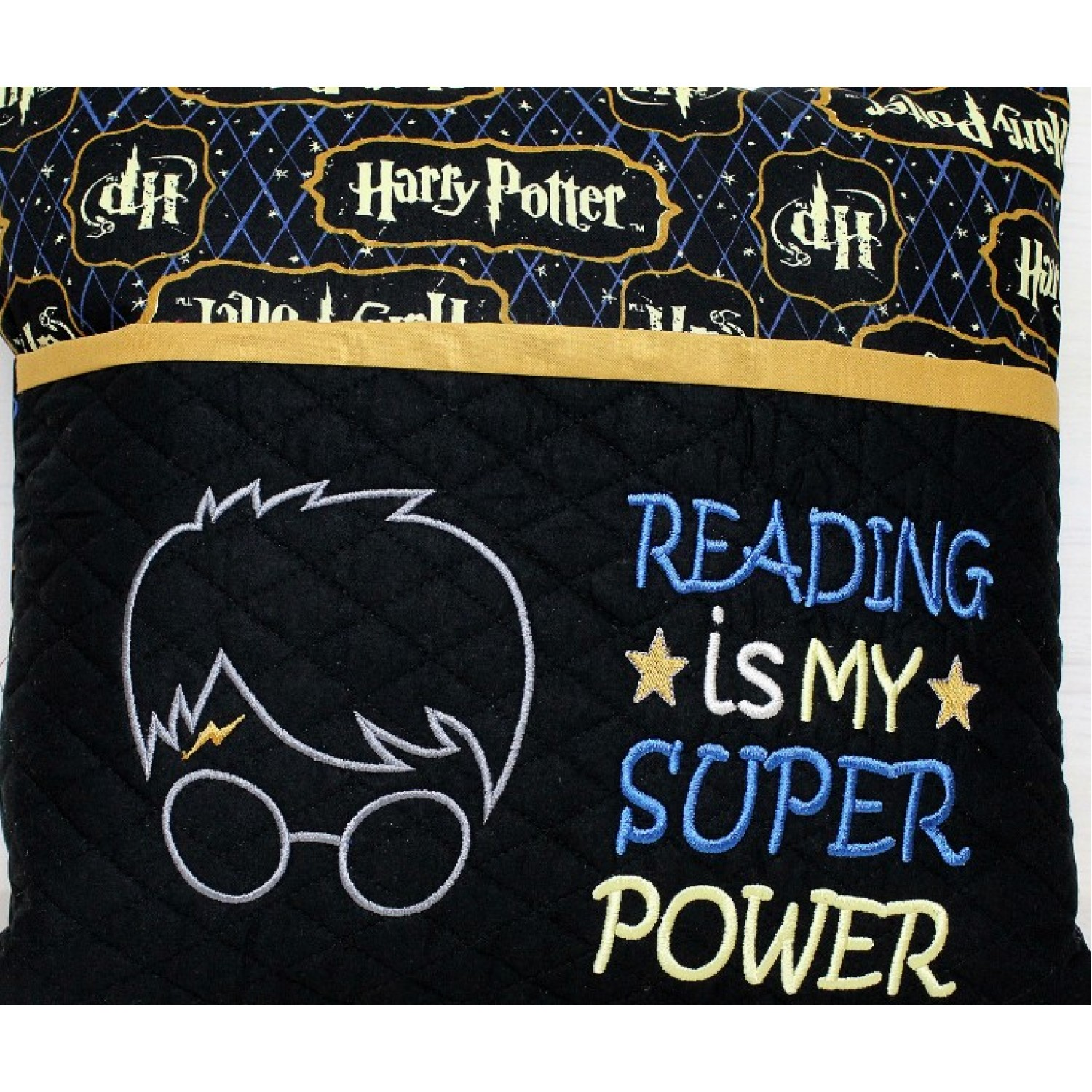 harry potter face applique with Reading is My Super power 2 designs 3 sizes