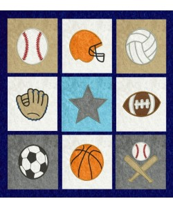 sports quilt applique set 9 designs
