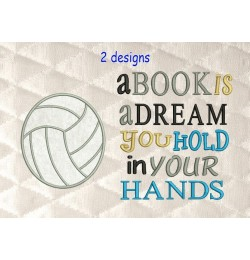 volleyball applique with a book is a dream