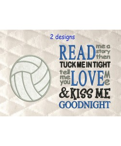 volleyball applique with read me a story
