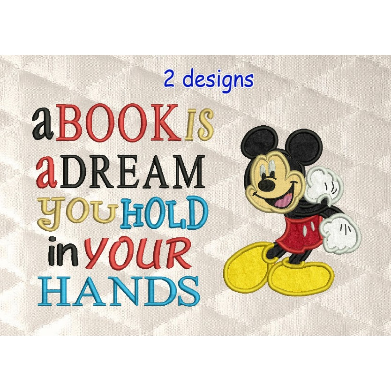 Mickey Mouse with a book is a dream designs