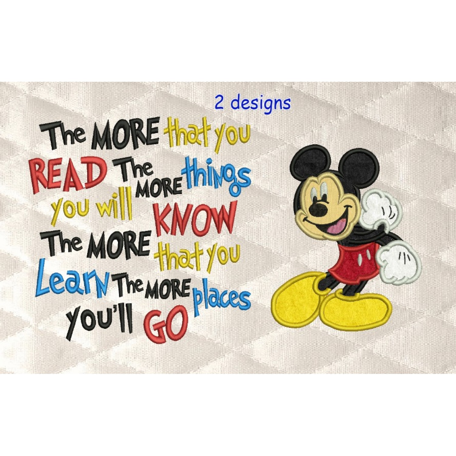 Mickey Mouse with the more that you read designs