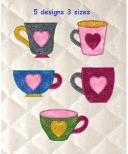 cups with heart applique set 5 designs