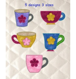 cups with flower applique set 5 designs