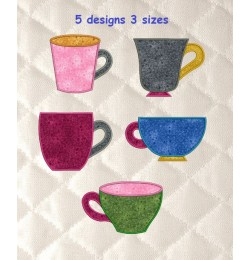 cups with simple applique set 5 designs