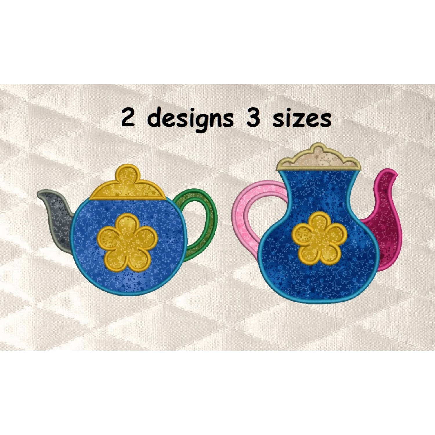 Teapot with flower applique 2 designs 3 sizes