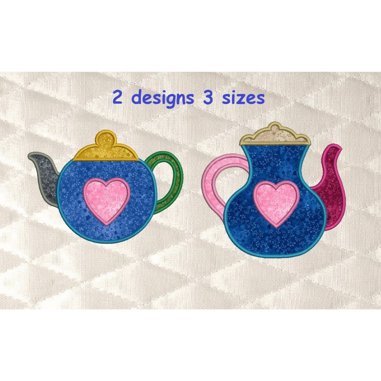 Teapot with heart applique 2 designs 3 sizes