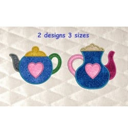 Teapot with heart applique 2 designs 3 sizes