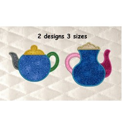 Teapot simple applique 2 designs 3 sizes