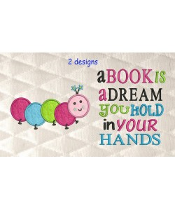 Worm applique with a book is a dream 2 designs 3 sizes