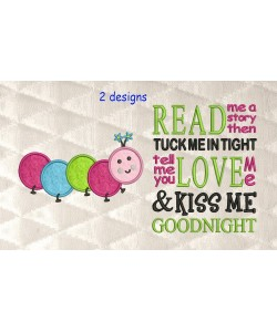 Worm applique with read me a story 2 designs 3 sizes
