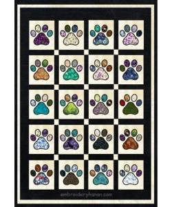 cat paw quilt applique in the hoop