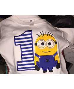 Bob minion birthday number 1 applique