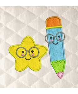 pencil and star applique