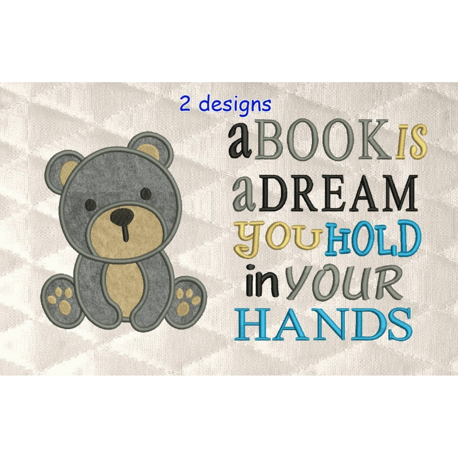 baby bear applique with a book is a dream