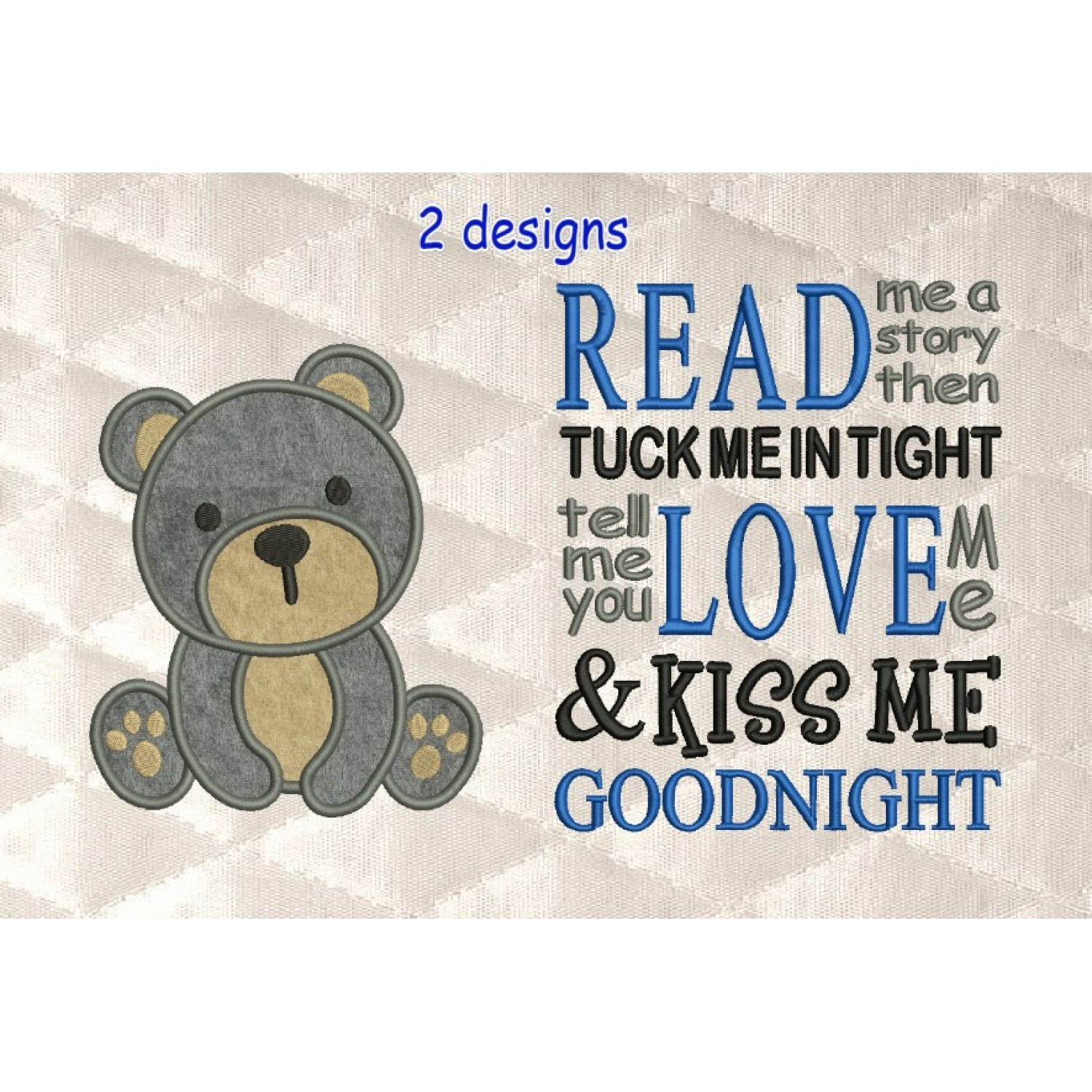baby bear applique with read me a story