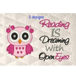 Owl girl with reading is dreaming