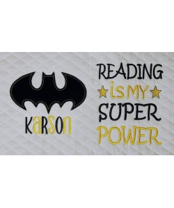 batman logo single applique with Reading is My Super power