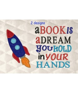 Space rocket applique with A book is a dream