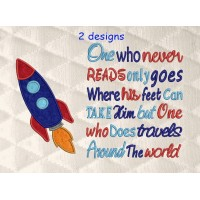 Space rocket applique with One who never reads