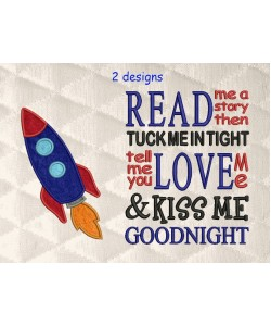 space rocket applique with read me a story