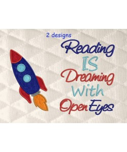 Space rocket applique with reading is dreaming