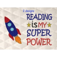 Space rocket applique with Reading is My Superpower